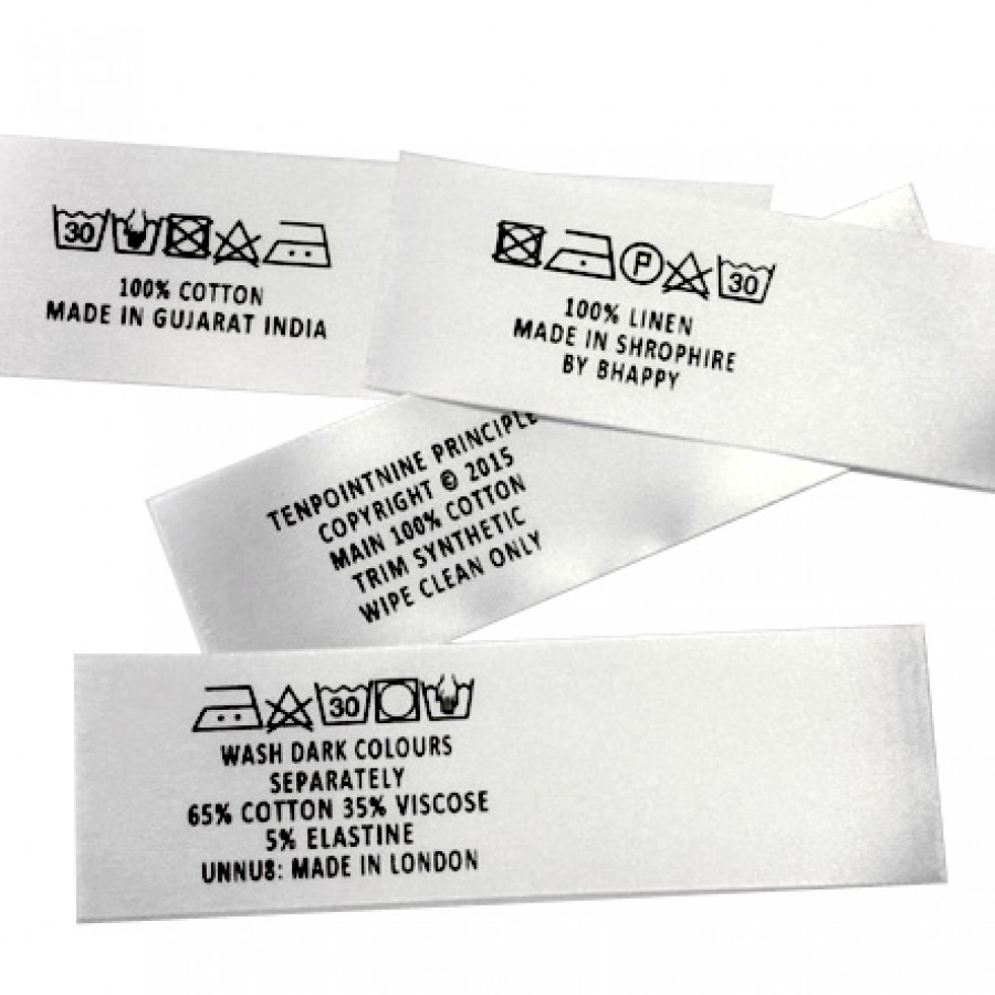 Printed satin care labels horizontal woven labels uk zoom biocorpaavc Choice Image